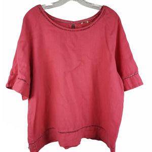 Women's Top Shirt XL BOHO linen Coral bell sleeve